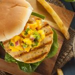 chicken burger with salsa