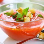 Chunky Gazpacho with Garlic Croutons