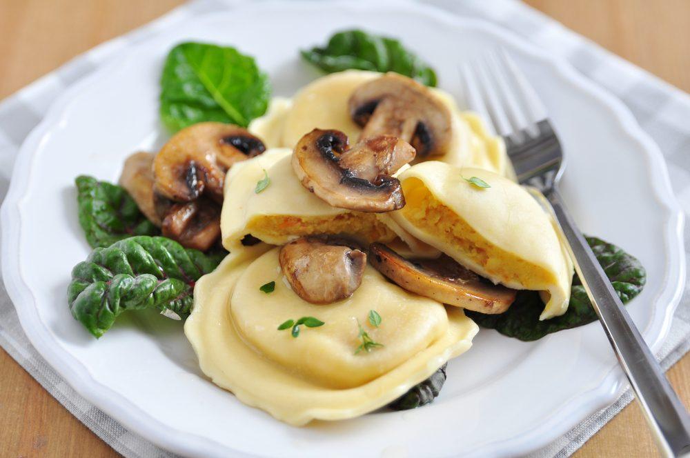 Mushroom Ravioli In Herb Jus