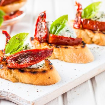 Sun-Dried Tomato and Basil Crostini