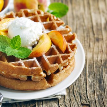Waffles with Glazed Nectarines
