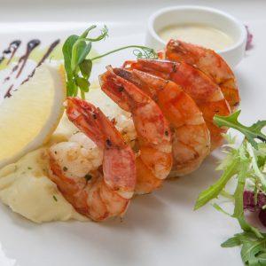 Grilled Garlic Shrimp with Garlic Mashed Potatoes
