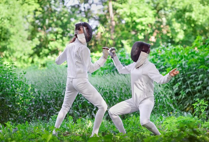fun ways to stay in shape_two women fencing