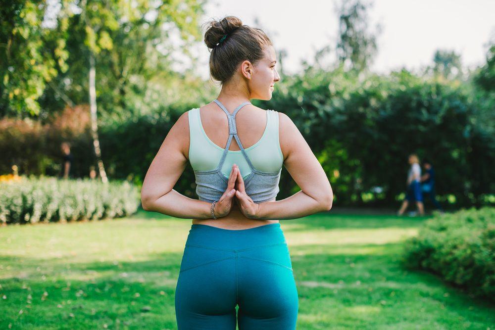 healthy woman doing yoga