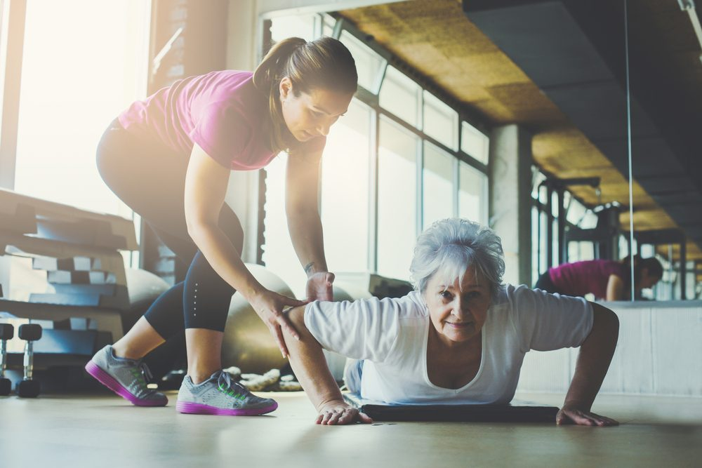 stay strong as you age_woman doing pushup