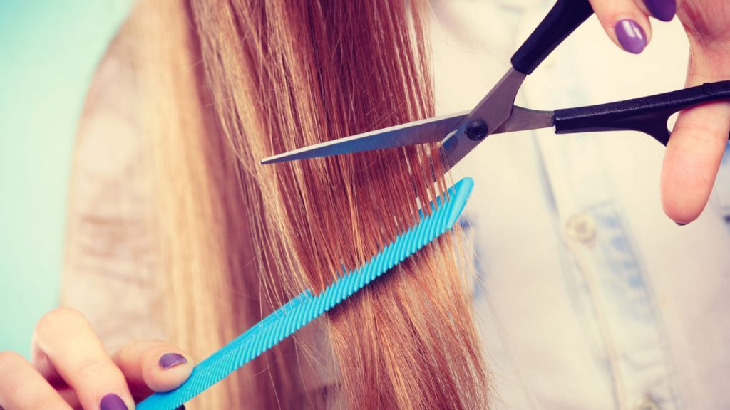 shiny hair getting a trim