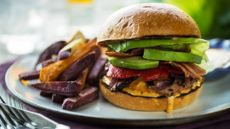 Turkey Burger with Sweet Potato Fries