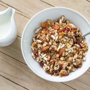 Healthy Homemade Cereal With Walnuts, Oats and Apricots