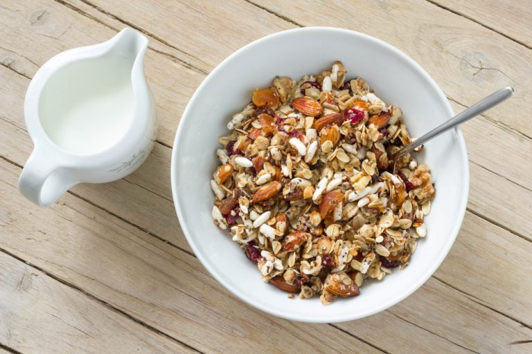 Healthy homemade cereal with walnuts oats and apricots ccuart Choice Image