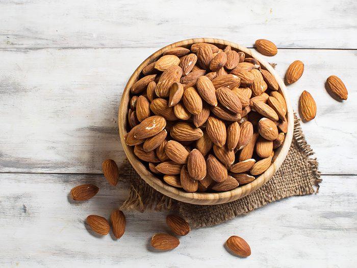 Snacks, bowl of almonds