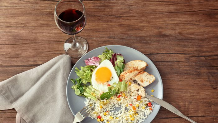 weight loss meal plan, wine and a protein meal