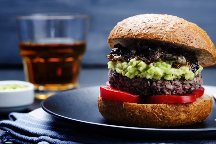 burger with avocado salsa