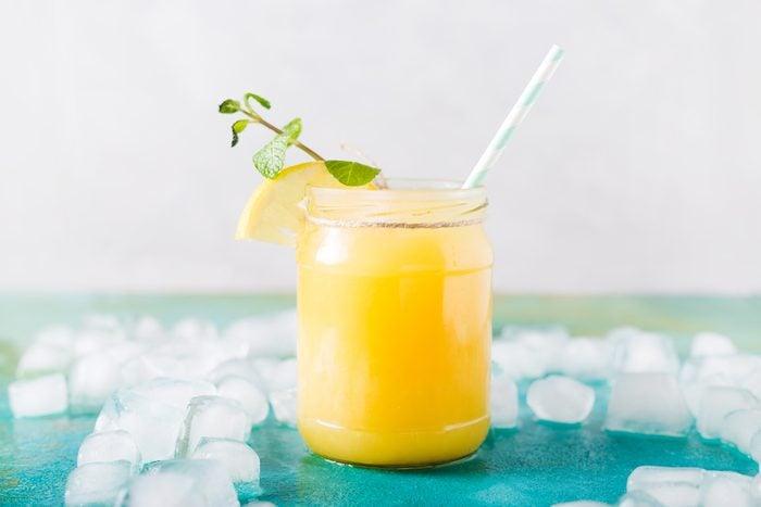 almond-orange smoothie on table