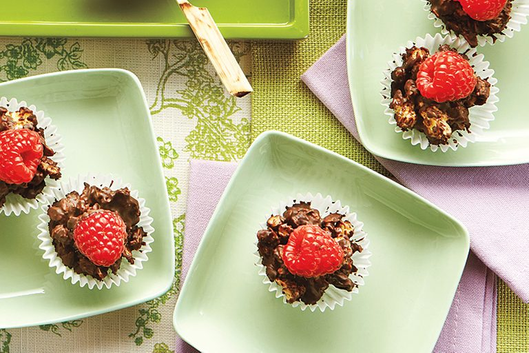 healthy mother's Day brunch, granola, raspberry chocolate granola cups