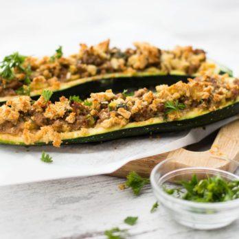 Baked Lamb-Stuffed Zucchini