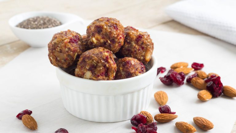hiking snacks: peanut power balls in a dish