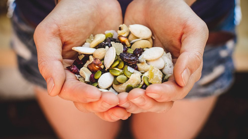 hiking snacks: a handful of walnut trail mix