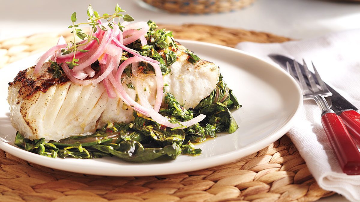 Three canada day recipes that are actually healthy grilled halibut chard with gremolata topping forumfinder Images