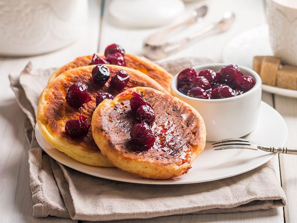 lemon ricotta pancakes with cherry sauce | pancake recipes | citrus recipes