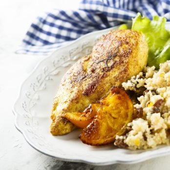 Orange Chicken on Moroccan Couscous