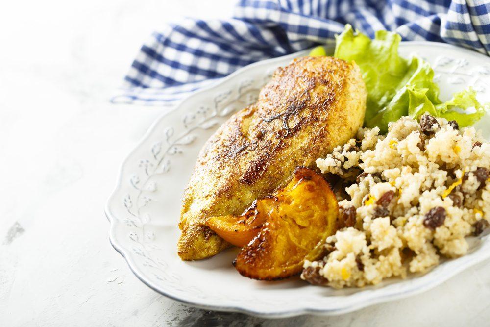 orange chicken recipe, orange chicken on moroccan couscous