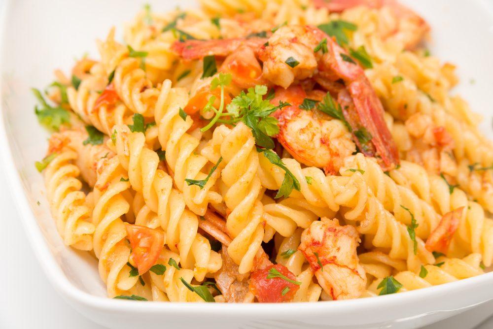 Fusilli with Roast Tomatoes and Shrimp