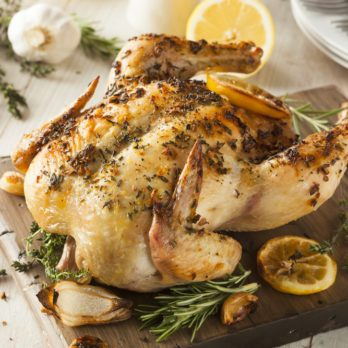 Rosemary, Lemon & Garlic Stuffed Roast Chicken