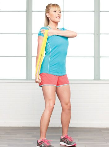 Cross-arm triceps push-downs: 2 minutes