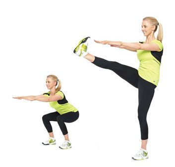 4. Squat Kicks: 2 minutes
