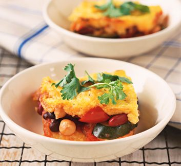 Four-Bean Chili Bake with Polenta Topping