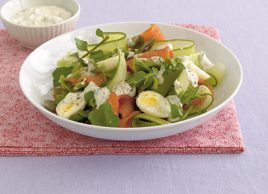 Egg mayonnaise salad with smoked salmon
