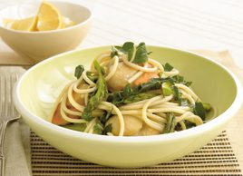 Spaghetti with scallops, asparagus and Swiss chard