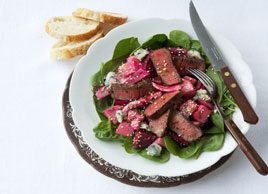 Roasted Beet & Beef Salad with Mustard Dressing