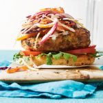 Grilled Chicken Bean Burgers with Tahini Slaw