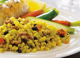 Curried Israeli Couscous and Walnut Pilaf