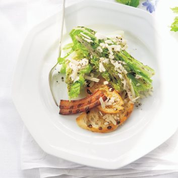 Grilled Romaine with Aioli and Crispy Pancetta