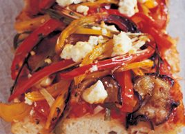 Ciabatta with feta and vegetables