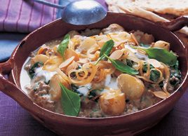Pork Korma with Potatoes and Spinach