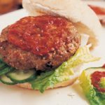 Pork and apple burgers with chili sauce