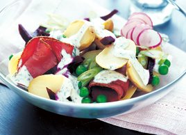 Warm new potato salad with beets and pastrami