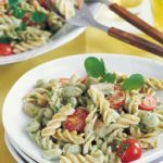 Pasta, ham and fava bean salad