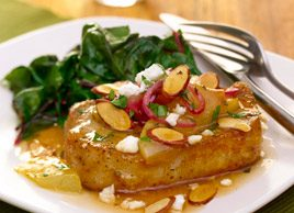 Honey-Braised Pork Chops with Pears, Red Onion, Feta and Almonds