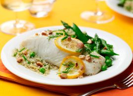 Lemon Roasted Halibut with Quinoa, Brown Butter and Spring Vegetables