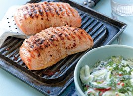 Marinated Salmon with Cucumber Salad