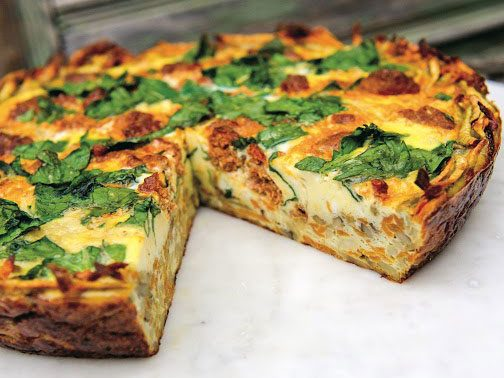 Sweet Potato and Yam Crusted Spinach and Chorizo Quiche