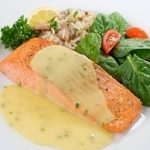 Poached Salmon Steaks with Horseradish and Chive Sauce