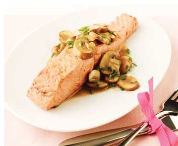 Green-Tea Poached Salmon with Sautéed Mushrooms