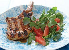 Pork Chops with Ruby Grapefruit & Watercress