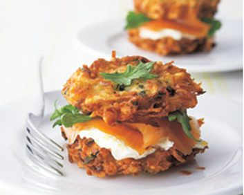 Potato Latke Sandwiches with Smoked Salmon