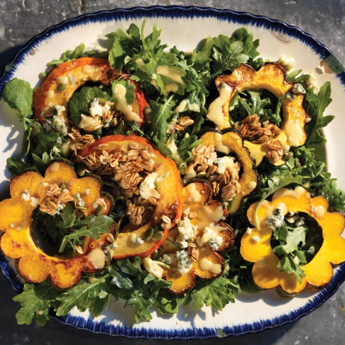 Roasted Squash Salad with Toasted Honey Oats and Pear Vinaigrette